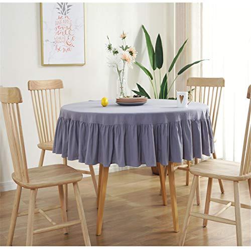 Tovaglia rotonda con volant diametro 150 cm Decorazione per la casa Proteggi il tavolino del tavolo da pranzo del desktop