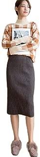 Howely Women's High Waist Split Fall Winter Knit Pencil Mid Long Skirt