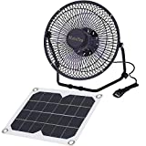 Solar Ventilator 5.2W USB Solar Panel Powered Portable Fan for Cooling Ventilation Outdoor Home Travelling Chicken House Car Ventilation System 8 Inch