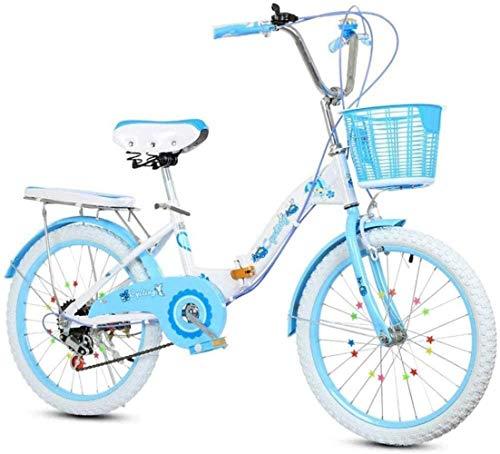 Wandbild 18 Zoll 20 Zoll 22 Zoll Folding Variable Speed Fahrrad Anti-Skid Wear-Resistant Anti-Stab Kinder Fuß Mode Studenten Auto BMX Bike (Color : Blue, Size : 18 inch)