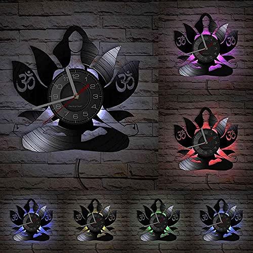 Reloj de Pared Moderno de Yoga Hecho de CD de Vinilo, símbolo de Loto para la meditación, un Reloj de Pared único para Damas como Regalo para los fanáticos del Yoga