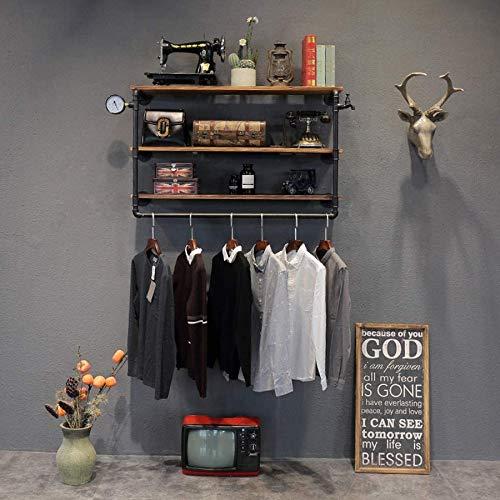 XHCP Eisen Vintage Garderobe, Massivholz Kombination Wandregal Haken Kleiderbügel, Schlafzimmer/Arbeitszimmer/Bekleidungsgeschäft, Schwarz