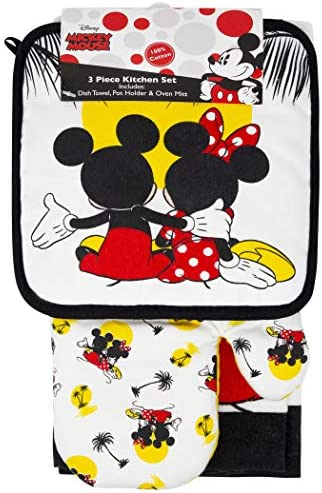 Jerry Leigh Mickey and Minnie Mouse Kitchen Towel Potholder Oven Mitt 3 Piece Set product image