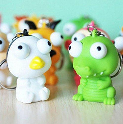 kimberleystore süße Puppe mit erhöhten Augen Anti-Stress-Ball Tier Schlüsselanhänger Quetsch-Spielzeug (zufällige Farbe)
