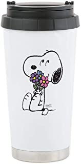 CafePress Springtime Snoopy Stainless Steel Travel Mug Stainless Steel Travel Mug, Insulated 16 oz. Coffee Tumbler