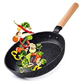 Caannasweis 9.5' Nonstick Frying Pan, Dishwasher Safe Skillet For Cooking, Professional Nonstick Fry Pan With Wooden Handle, Stone Pan with Nonstick Coating, 100% PFOA Free