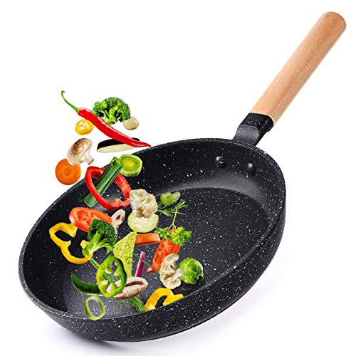 Caannasweis 9.5' Nonstick Frying Pan, Dishwasher Safe Skillet For Cooking, Professional Omelette Pan With Wooden Handle, Non-Stick Granite Stone Pan Superior for All Stoves, 100% PFOA Free