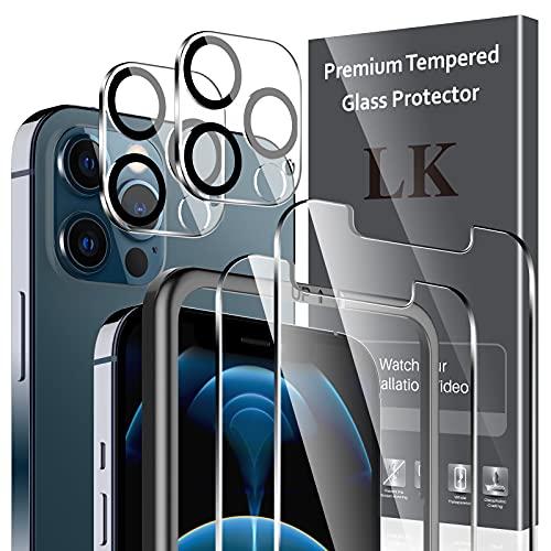 LK 4 Stücke Schutzfolie Kompatibel mit iPhone 12 Pro Max Panzerglas,6.7 Zoll,2 Stücke 12 pro max Schutzfolie & 2 Kamera Panzerglas, 9H Festigkeit Panzerglasfolie, HD Klar Bildschirmschutz, Kratzen