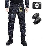 Pantalones de combate para hombres tipo uniforme BDU (Uniforme de batalla) con rodilleras de protección, ideales para el ejército, fuerzas militares, juegos como airsoft y paintball, de WorldShopping4U, color T, tamaño Large