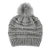 Gorro para mujer con pompón de pelo sintético, cálido, tejido suave, elástico, térmico, con forro (gris claro)