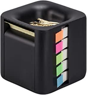 All-in-One Pop-up Note & Roll Sticky Note Dispenser Assorted Index Flag Dispenser Paper Clip Tub Desk Organizer (Black)