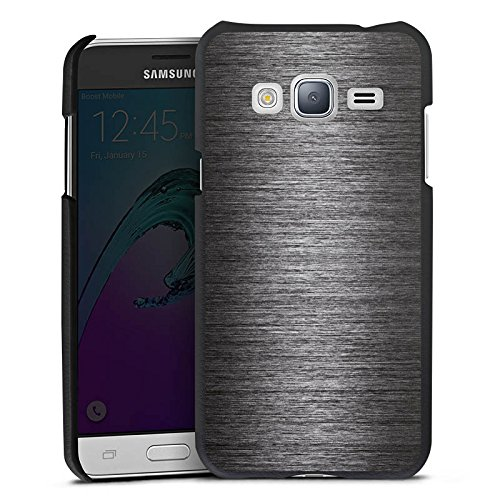 DeinDesign Cover kompatibel mit Samsung Galaxy J3 Duos 2016 Lederhülle schwarz Leder Hülle Leder Handyhülle Metal Metall Erscheinungsbild