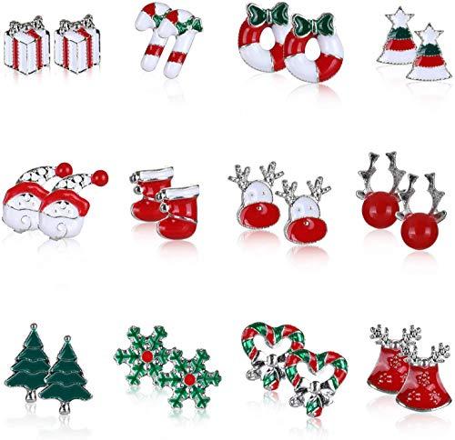 Naler 12 Pares de Pendientes de Navidad Aretes Navideños Pendientes Colgantes Mujer Niña Joyas Decoración