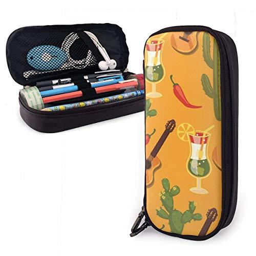 Gitarren- und Kaktus-Pu-Leder-Federmäppchen, Stifttasche mit großer Kapazität, robuste Studenten-Schreibwaren-Organisatoren