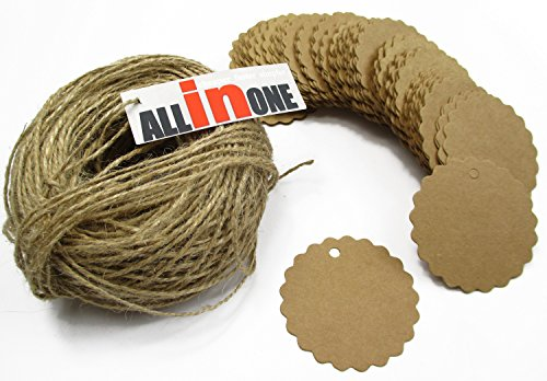All In One 100pcs Kraft Paper Tag Gift Tags With Jute Twines (50mm Natural Color Round)