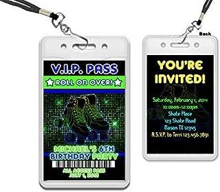 Boy Roller Skating VIP Pass Lanyard Birthday Invitation