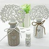 Profuma ambienti a forma di albero della vita con bottiglietta in ceramica bianca o tortora con cuore glitter, bomboniere nozze, completo di scatola regalo (Bianco-senza confezionamento)