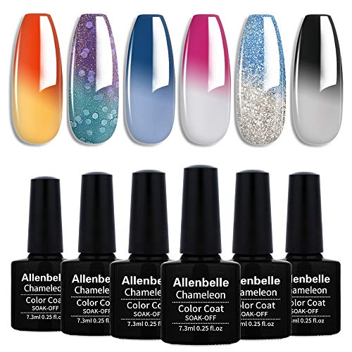 Allenbelle Esmaltes Permanentes Para Uñas Nail Art Soak Off UV LED Esmalte Permanente de gel (Lot 4 pcs 7.3ML/pc) 009