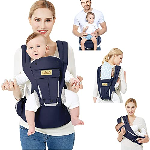 Viedouce Baby Carrier Ergonomic with Hip Seat for Newborn Toddler Front Back Carry Backpack Soft Lightweight Breathable Multiple Positions, Navy