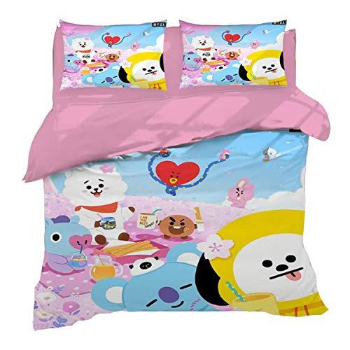 QWAS BTS Ropa de cama de dibujos animados de dibujos animados 3D, impresión digital, 1 funda nórdica y 2 fundas de almohada, regalo para niños (L3,220 x 240 cm + 80 x 80 cm x 2)