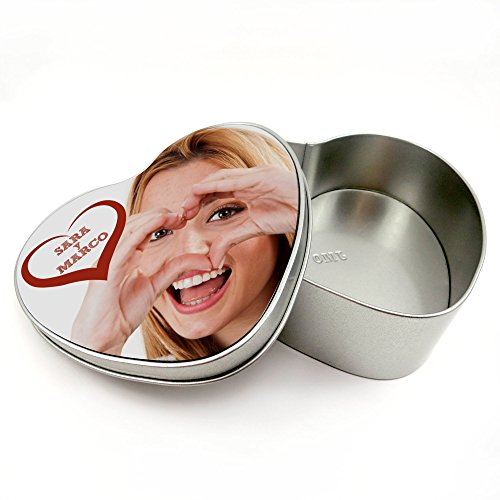 Caja metálica corazón Personalizada con Foto. Caja Regalo de Aluminio. Estuche Personalizado. Regalo Original. Varios Modelos Disponibles. CORAZÓN