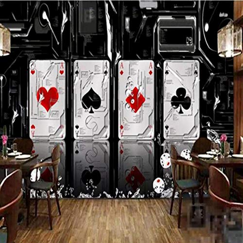 Carta da parati con foto di poker, scacchi murali di grandi dimensioni, Mahjong Casino, carta da parati a tema Negozio di lotterie 3D, decorazione murale 280 cm (L) x 180 cm (A)