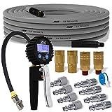 JACO FlexFlow Tire Inflation Bundle Kit (JSP-3000)   with FlowPro 2.0 Digital Inflator Gauge (200 PSI), FlexPro Air Compressor Hose (3/8' x 50 ft), & Industrial Quick Connect Kit (Set of 12, 1/4' NPT)