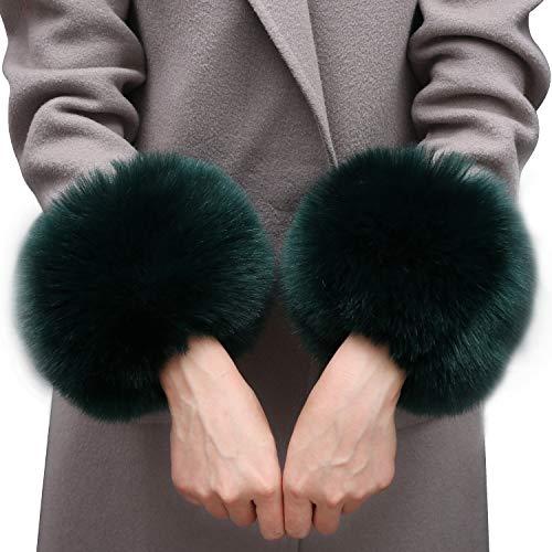 MAGIMODAC Fell Pelz Armstulpen Stulpen Manschetten Fellstulpen Handschuhe Pulswärmer Kunstfell (Grün, Einheitsgröße)