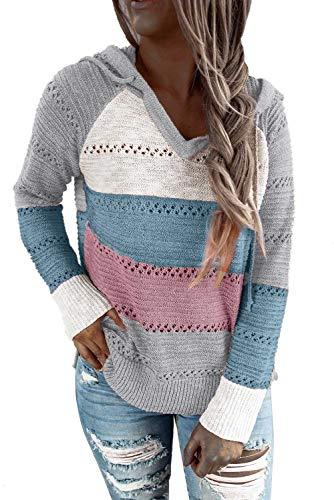 QAKEHU Frauen Lightweight Color Block Hooded Sweaters Hoodies Pullover Sweatshirts Pullover A-Pink/Blue S