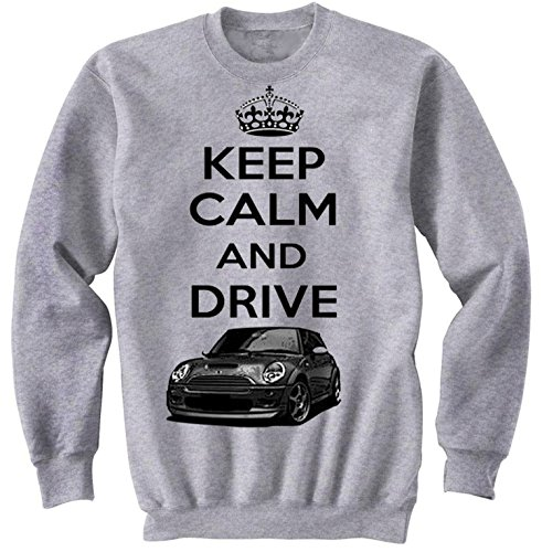 TEESANDENGINES Men's Mini Cooper Inspired Keep Calm & Drive Gris Sudadera Size Small