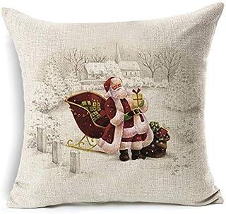 None/Brand 1Pcs Christmas Deer Santa Claus Pattern Cotton Linen Throw Cushion Cover Car Home Sofa Decorative Pillowcase Fu...