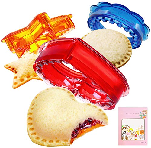Sandwich Cutter and Sealer, Uncrustables sandwich Maker, Sandwich cutters for Kids, Decruster Sandwich Maker, Sandwich Cut and Seal for Boys and Girls, Bread cutter for Lunch box and Bento Box 3shapes