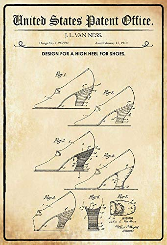 NWFS patent ontwerp voor schoenen met hoge hakken metalen bord bord metalen plaat metalen plaat plaat plaat metaal Tin Sign gewelfd gelakt 20 x 30 cm