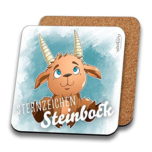 INWIEDU - Untersetzer Sternzeichen Steinbock - MDF mit Kork Rückseite - Größe 95 x 95 x 3 mm