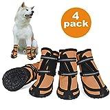 Dociote Zapatos para Perros, 4Pcs Antideslizante Botas con Correas Resistente, Cierre de Velcro, Impermeables Protectores de Patas para Perros Medianos y Grandes XXL Naranja