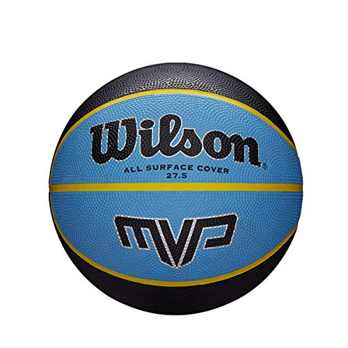 WILSON Unisex-Adult MVP BSKT Basketball, Schwarz/Blau, 3