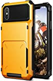 iPhone X Case, [HEAVY DUTY DROP PROTECTION] Hybrid Card Slot Wallet Cover [Shock Absorbent Cover] for Apple iPhone X / iPhone 10 (2017) by Lumion (D.Folder -Yellow)