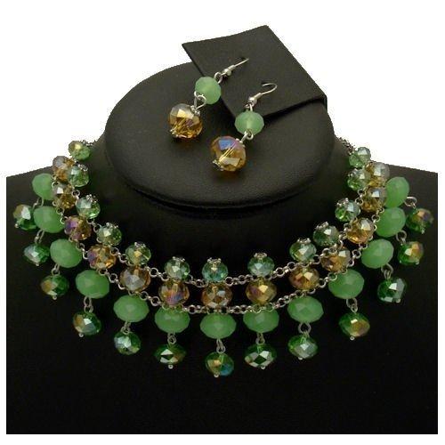 Acosta-&, opale, con perle di cristallo Swarovski AB-Parure di orecchini e collana girocollo &, in confezione regalo