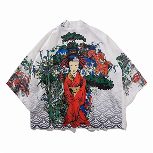 Shability Japanese Style Robe Pop Kimono Beauty Personality Printing Teen Men's Wild Coat yangain (Color : White, Size : XXL)
