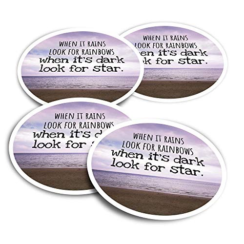 Vinyl Stickers (Set of 4) 10cm - Motivational Quote Hard Times Positivity Fun Decals for Laptops,Tablets,Luggage,Scrap Booking,Fridges #45790