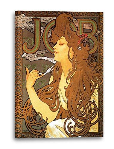 Printed Paintings Impression sur Toile (80x120cm): Alfons Mucha - Job Cigarettes