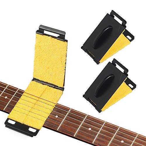 2 PCS Guitar String Cleaner, Guitar Fretboard Cleaner, Brass String Cleaner Cloth for Guitar, Fretboard Guitar Scrubber for Bass Mandolin Ukulele (CS 02)