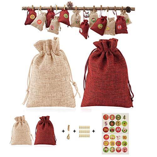 JOYKK 24 delen/set Kerstmis serie Adventskalender Vullen Candy Gift Bag met Stickers