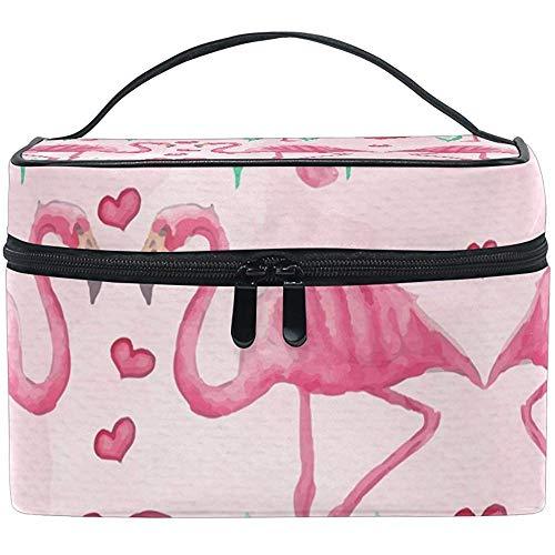 Sacs de Maquillage avec Fermeture à glissière Rose Motif Flamant Rose avec Coeurs Sac cosmétique étui Multifonction Portable
