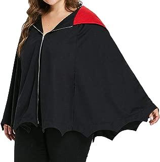 SPORTTIN Women's Plus Size Halloween Hoodie Zip Up Black Bat Cloak Ruffle Cut Bottom Party Costumes