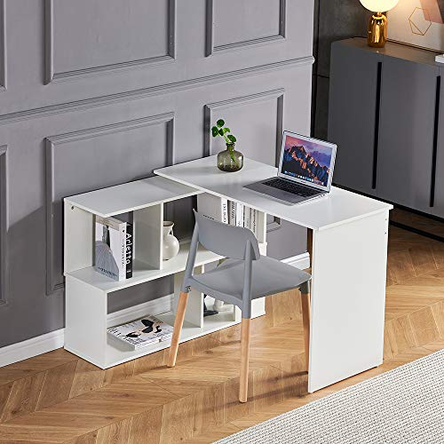 Menaka Corner Computer Desk Gaming Table White Wooden with Shelves, Home Office L-Shaped Exclusive Laptop Desk Writing Table Study Workstation for Kids Student Bedroom Small Space