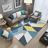 shshuiyue Sala de Estar Alfombra Amarillo Azul Colorido Alfombra de geometría Irregular Dormitorio Triángulo Lavable Mat 140X200CM