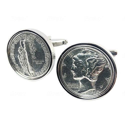 worldcoincufflinks - Cufflinks - Rhodium Plated - 75th Birthday Coin Cufflinks   1945 US Dime Cufflink Set   Gift for Men Handmade Personal
