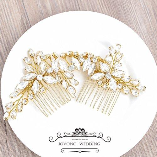 Jovono - Pettinino decorativo per capelli con strass, per spose, donne e ragazze