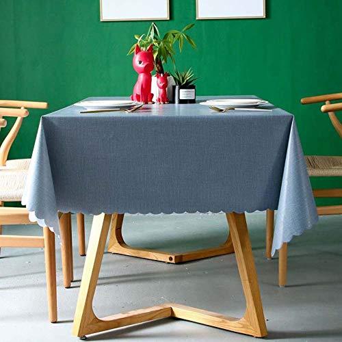 shunzianson Pvc-waterdicht tafelkleed, effen tafelkleed, rechthoekig, anti-hete olie, tafelkleed, golven, eettafelafdekking 140x140 cm lichtblauw